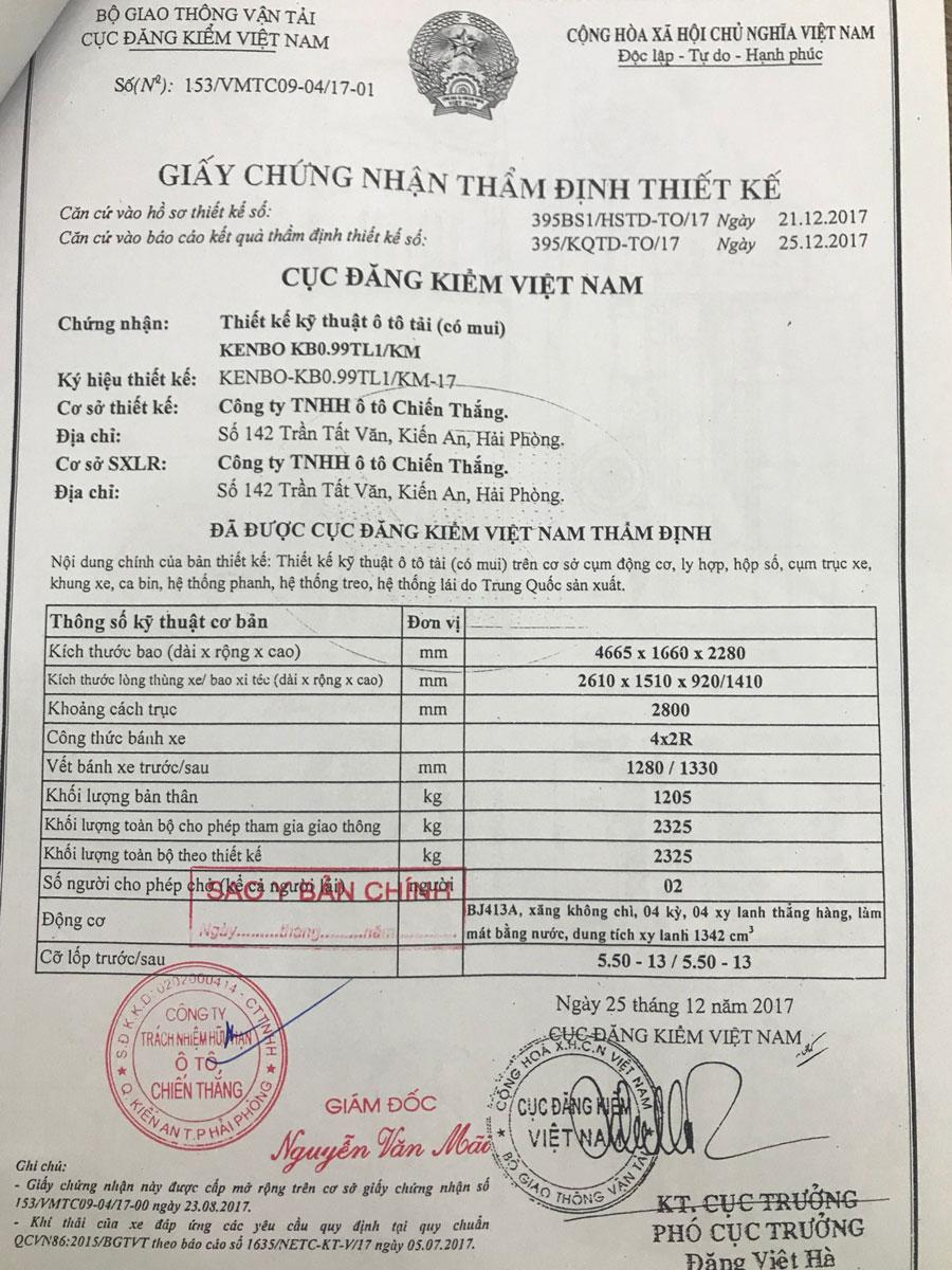 Thông số kỹ thuật Xe tải Kenbo Chiến Thắng 990kg